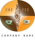 Logokaffee einzigartig Regenbogen und Wolke auf dem blauen Himmel Lizenzfreie Stockbilder