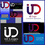Logokarten mit Buchstaben I und D Lizenzfreie Stockfotos