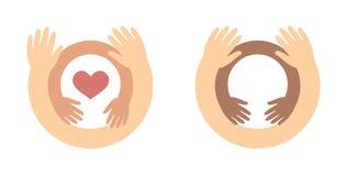 Logokonzept der Kinder Tages- Babyhanddas innere Umarmen übergibt Sorgfalt für Kinder, Nächstenliebesymbol lizenzfreies stockbild