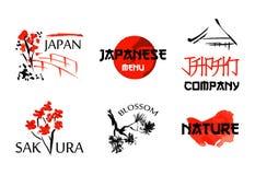 Logomallar ställer in med asia landskap, byggnader, och blomstra sakura branchs i traditionell japansk sumi-e utforma Arkivfoto