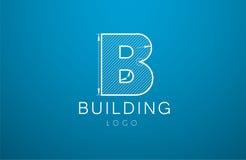 Logomallbokstav B i stilen av en teknisk teckning sig stock illustrationer