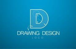 Logomallbokstav D i stilen av en teknisk teckning vektor illustrationer