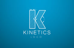 Logomallbokstav K i stilen av en teknisk teckning stock illustrationer