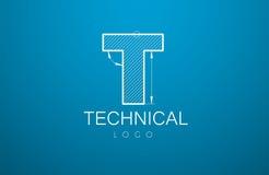 Logomallbokstav T i stilen av en teknisk teckning stock illustrationer