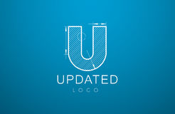 Logomallbokstav U i stilen av en teknisk teckning royaltyfri illustrationer
