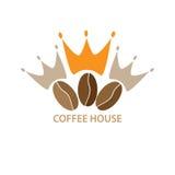 Logomallen för ett kafé, shoppar, kaffeföretaget Royaltyfria Bilder