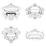Logomallen frodas calligraphic beståndsdelar Ramar för design av monogram stock illustrationer