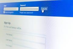 LOGON auf einer Web site auf facebook Stockfotografie