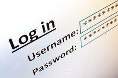 LOGON auf einer Web site im Internet Lizenzfreies Stockfoto