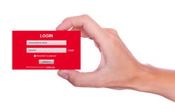 LOGON-Formular Hand Lizenzfreie Stockfotografie
