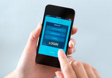 LOGON-Formularfenster am Handy Lizenzfreies Stockbild