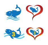 Logoomega-Fische auf Herzen stock abbildung