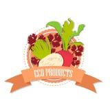 Logorettiche und -rote Rüben mit dem Aufschrift ` Bioprodukte ` Lizenzfreies Stockbild