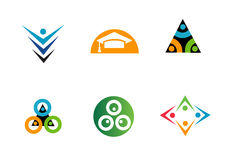 Various geometric design company logos Royalty Free Stock Images