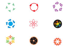 Company logos with round patterns. A collection of company logos with arrows and other objects in round pattern. illustrated graphic graphics graphical design Royalty Free Stock Photos