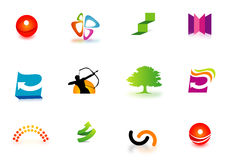 Colorful company logos. A set of colorful illustrated company logos on a white background Stock Photo