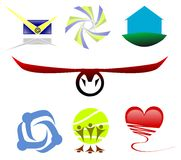 Logos. Image representing some logos. the themes are: certified mail, stylized star, house, bull, embrace, dance in the sun and heart Royalty Free Stock Photo