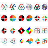 Logos. Twenty four  images of colorful abstract logos for designers for different needs Stock Photo