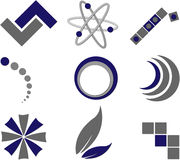 Logos. 9 different blue & gray vector graphical symbols/logos Stock Image
