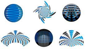 Logos. Illustration of logos, blue, gray Royalty Free Stock Images