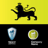 Logos. Lion and logo compositions of power and royalty Royalty Free Stock Photo