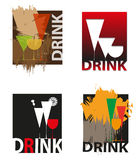 Logos for bar. Set of logos with various glasses Stock Photos