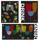 Logos for bar. Set of logos with various glasses Royalty Free Stock Photos