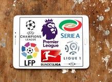 Soccer leagues icons logos. Logos of best worldwide football leagues on samsung tablet. leagues like uefa , english premier league , spanish league la liga royalty free stock photography
