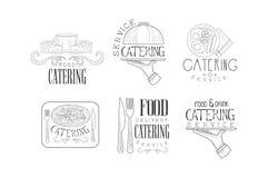Logos in bianco e nero di vettore per le società d'approvvigionamento Emblemi disegnati a mano con alimento, le bevande, la colte illustrazione vettoriale