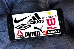Sportswear logos and icons. Logos and brands of most famous and popular sportswear companies on samsung mobile. sporting brands like nike, adidas, puma, asics stock images