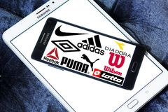 Sportswear logos and icons. Logos and brands of most famous and popular sportswear companies on samsung mobile. sporting brands like nike, adidas, puma, asics royalty free stock images