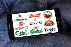 Beer brands icons. Logos and brands of most popular beer brands and producers on samsung mobile stock photo