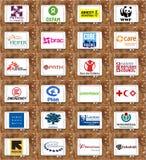 Logos célèbres supérieurs et icônes des organismes non gouvernementaux (O.N.G.) Photographie stock libre de droits