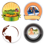 Logos circle. Four different rounded logos. Farm, student/university, world dishes, city vector illustration