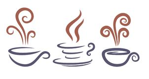 Logos of coffee cups. Set of logos of coffee cups Stock Photography