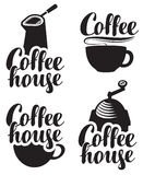 Logos for coffee house with a cup and grinder. Set of logos for coffee house with a cup and grinder Royalty Free Stock Image