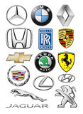 Logos collection of different brands of cars. Kiev, Ukraine - February 11, 2016: Logos collection of different brands of cars: Mercedes, BMW, Lexus, Honda Royalty Free Stock Photography