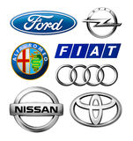 Logos collection of different brands of cars. Kiev, Ukraine - February 11, 2016: Logos collection of different brands of cars, printed on paper and placed on Royalty Free Stock Photography
