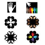 Logos con le mani Immagini Stock Libere da Diritti