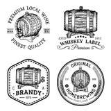 Logos d'alcool Les barils en bois ont placé avec des signes de boissons de cognac, eau-de-vie fine, whiskey, vin, bière Labels, i illustration libre de droits