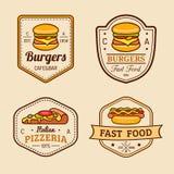 Logos d'aliments de préparation rapide de vintage de vecteur réglés Rétro collection de signes de consommation Bistros, snack-bar Photos stock