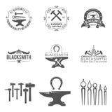Logos d'annata dei lavori in metallo e del fabbro, emblemi Fotografia Stock Libera da Diritti