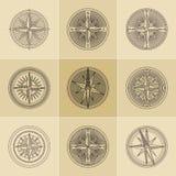 Logos d'annata lineare rotondo della bussola Fotografia Stock