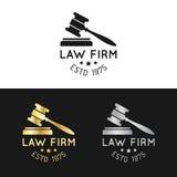Logos de cabinet juridique réglés avec l'illustration de marteau Dirigez la mandataire de vintage, labels d'avocat, collection ju illustration stock