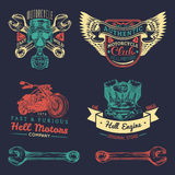 Logos de club d'iker de vecteur réglés Signes de réparation de moto Labels de garage esquissés rétro par main Emblèmes faits sur  Photographie stock libre de droits