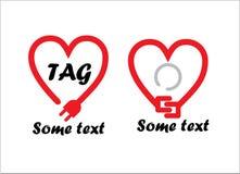 Logos de coeur de câble électrique Photographie stock libre de droits