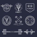 Logos de forme physique de vecteur réglés La main a esquissé les signes sportifs Le gymnase symbolise l'illustration Icônes de cl Image stock