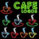 Logos de néon de café illustration stock