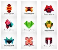 Logos de société, ensemble géométrique de papier d'icône illustration stock