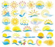 Logos de Sun avec la mer illustration stock